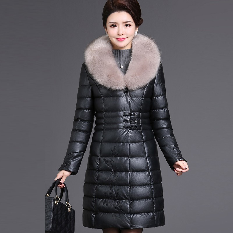 Back To Search Resultswomen's Clothing Helpful Winter Pu Leather Jacket Women 2018 Fashion Thick Warm Embroidery Mother Down Cotton Parka Large Fur Collar Retro Overcoat S150 Jackets & Coats