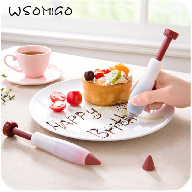 1pc Silicone Food Writing Gun Gun Biaohua Tools Mold Cake Cup Chocolate Cream Pastry Decorating Nozzles Kitchen Accessories- S