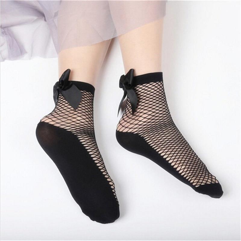 Summer Women Fashion Bow Knot Fishnet Socks Short Hollow Out Mesh Sock