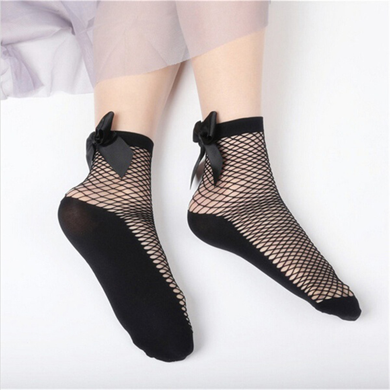 Summer Women Fashion Bow Knot Fishnet   Socks   Short Hollow Out Mesh   Sock
