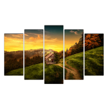 HD 5 piece canvas house landscape forest painting posters and prints canvas painting for living room free Free Shipping Cairnsi