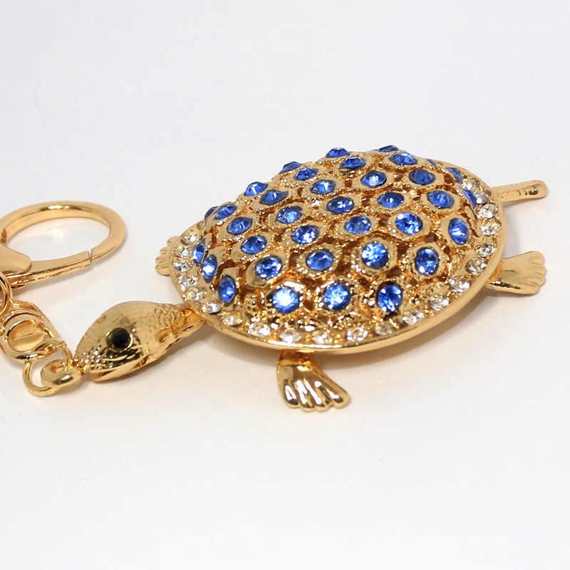 Gold - สี Rhinestone เต่าพวงกุญแจโลหะพวงกุญแจรถพวงกุญแจของขวัญสำหรับสาวกระเป๋าถือ Chram ขายส่งจี้กระเป๋า