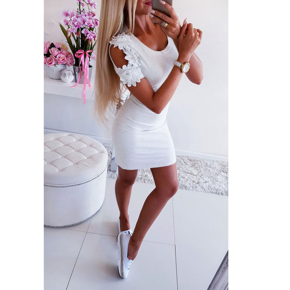 b77f1cb3af87b US $6.29 22% OFF|Women Floral Shirt Dress Ladies Cold Shoulder Short Sleeve  Summer Dresses Womens Slim Skinny Short Mini Party Dress Beach-in Dresses  ...