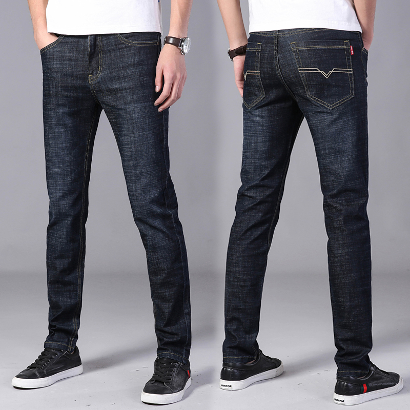 2019 New mens fashion black blue   jeans   mens skinny   jeans   slim fit strecth washed scratched casual denim trousers male