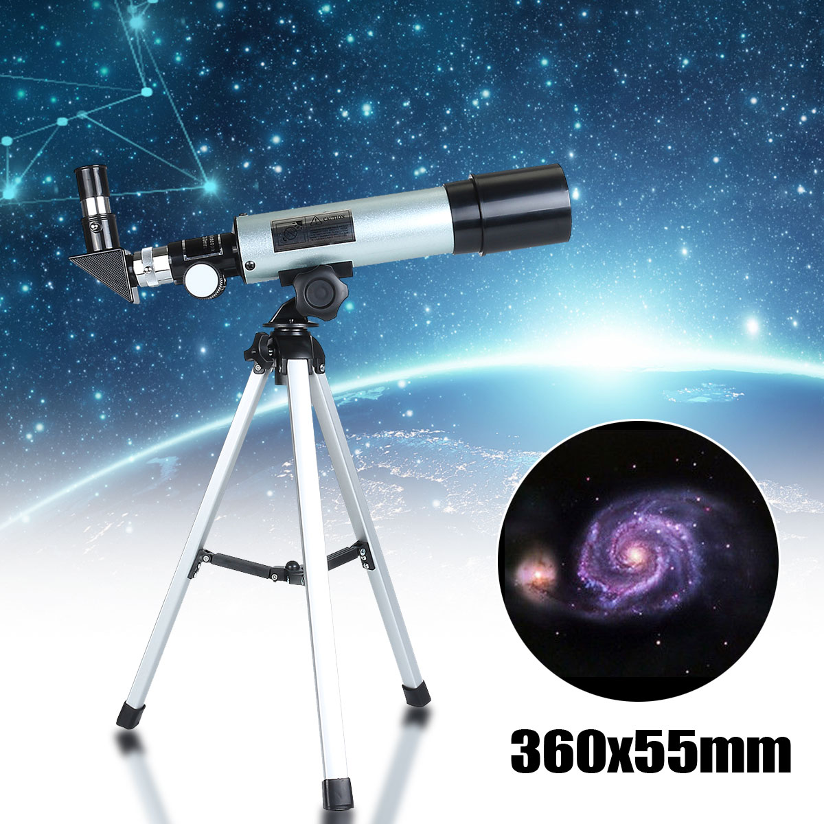 Astronomical Telescope Tripod-Space Portable Camping F36050M Monocular With For Beginner