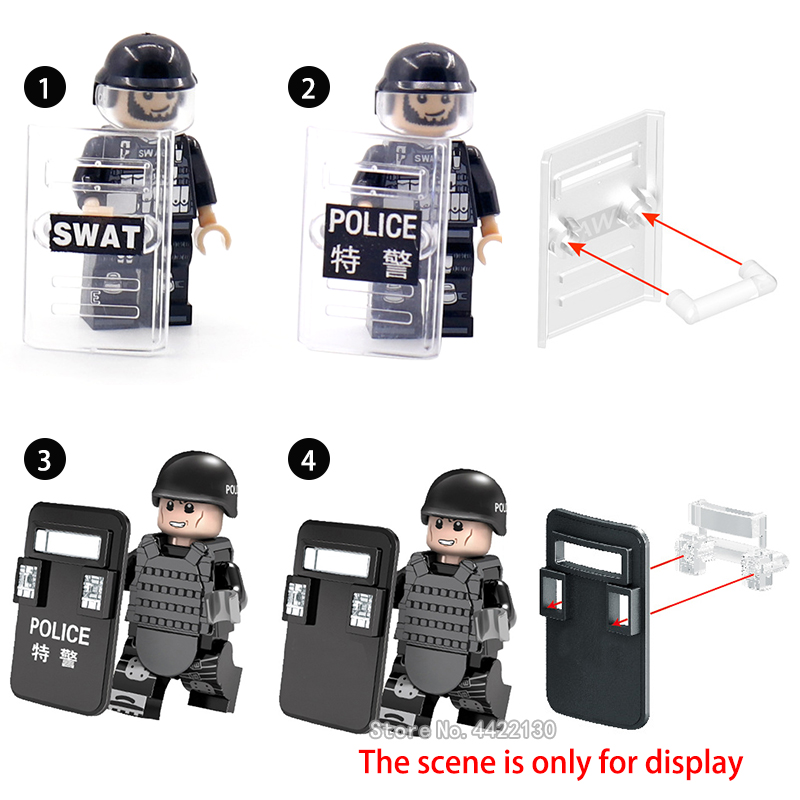 Equipment Building Blocks Figures Mini Swat Special Police Shield Assemble Model City Riot War Weapon Toy Gift With Legoinglys