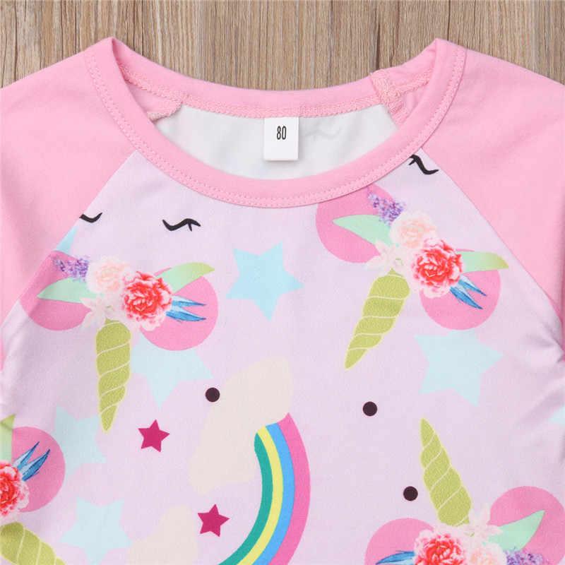 9a5efa14057 ... Lovely Kids Girls Cotton T-Shirts Ruffles Long Sleeve O-Neck Tops  Casual Unicorn ...
