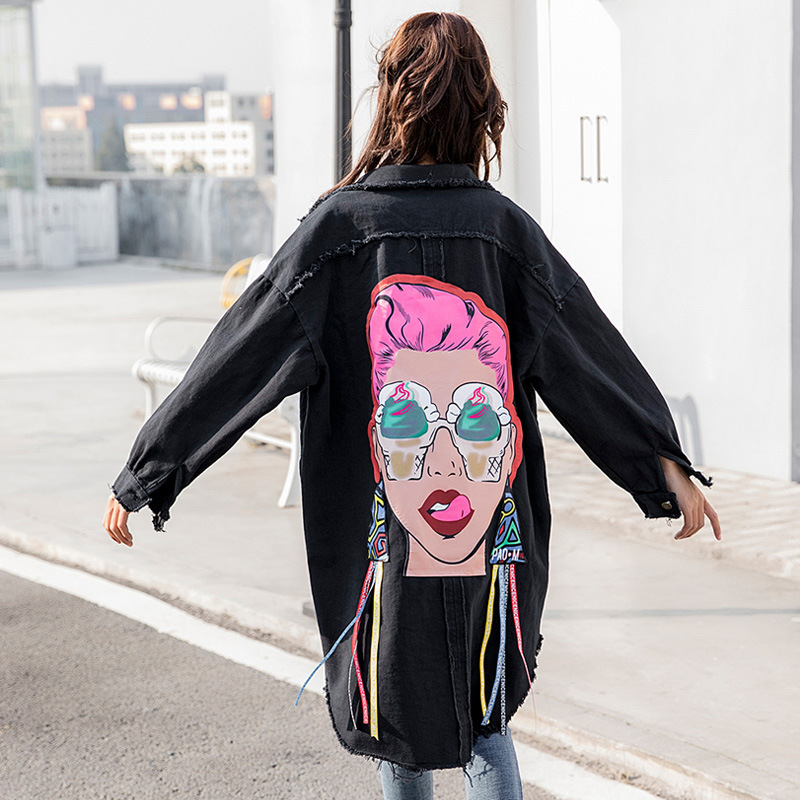 LANMREM 2019 Spring New Pattern Korean Print Turn-down Collar Long Cowboy Loose Single Breasted Coat Woman Windbreaker EF448