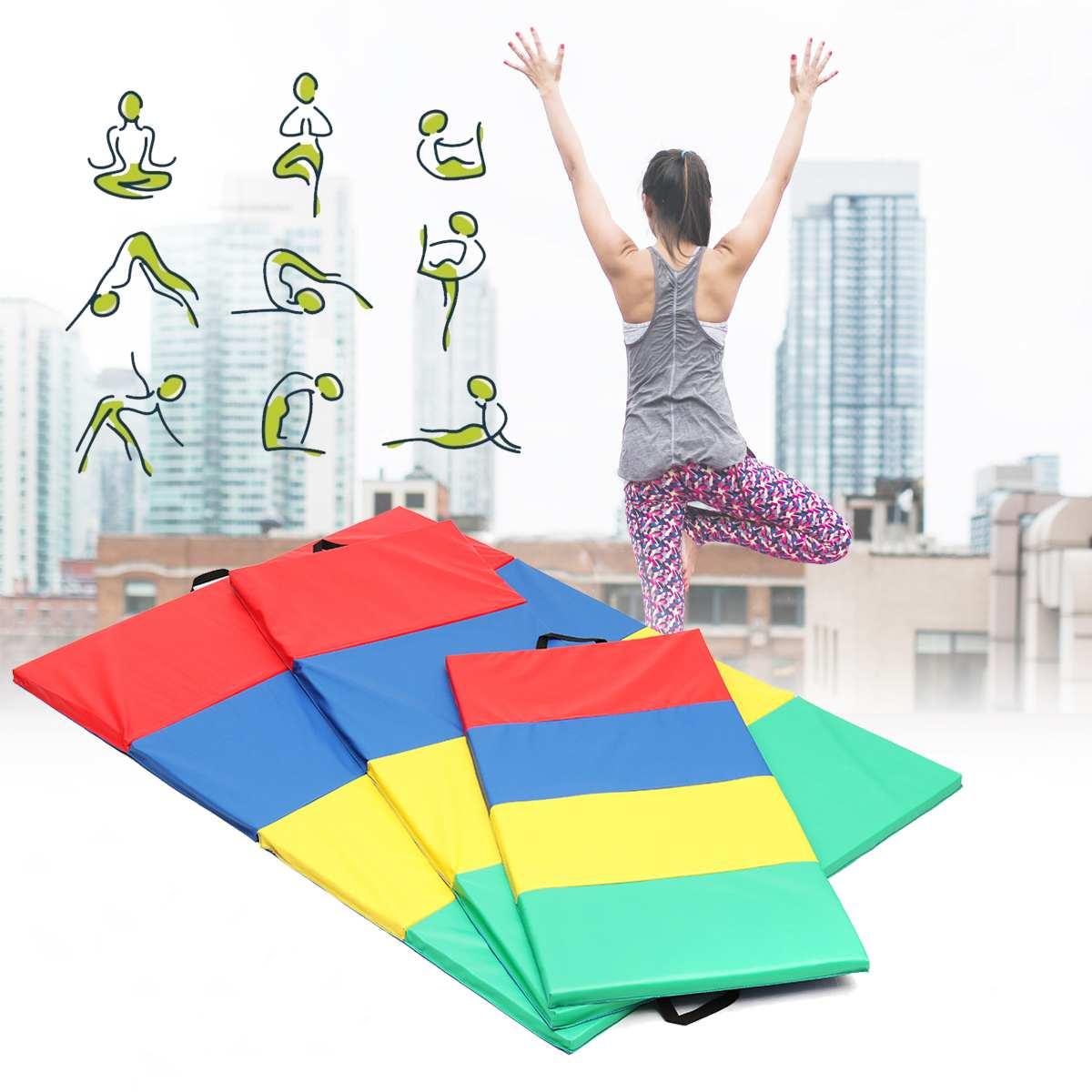 4 Folding Gymnastics Mat Yoga Exercise Gym Airtrack Panel Tumbling Climbing Pilates Pad Air Track4 Folding Gymnastics Mat Yoga Exercise Gym Airtrack Panel Tumbling Climbing Pilates Pad Air Track