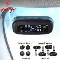 Deelife TPMS Car Tire Pressure Monitoring System Alarm Windshield Tyre Sensor Solar Monitor Internal External Security Systems