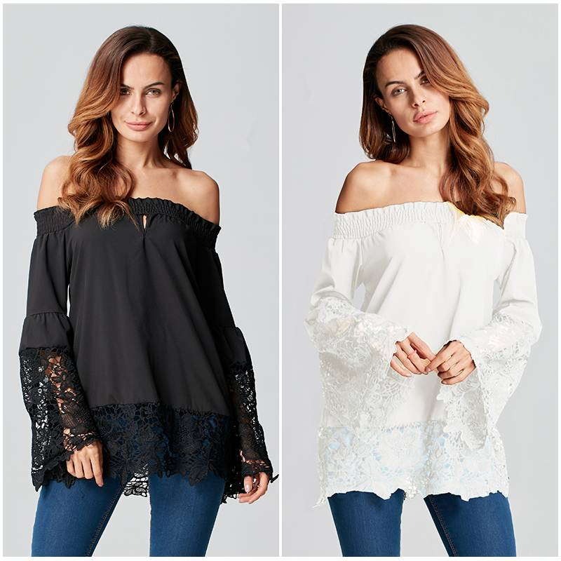 Plus Size Blouse Shirts Women Casual Loose Sexy Off Shoulder Slash Neck Patchwork Lace Ruffles Sleeve Elegant Party Tops Blusa
