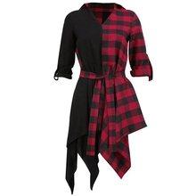 Rosetic Gothic Black Streetwear Plus Size Red Women Shirt Dresses Casual Sexy Club Summer Plaid Asymmetric Goth Female Dress