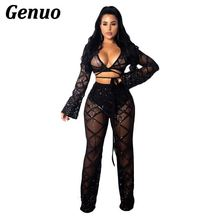 Genuo 2019 Winter Women Sequin Mesh Bandage 2 Piece Set Flare Sleeve Crop Top + Wide Leg Pants Suit See Through Sexy Club Outfit