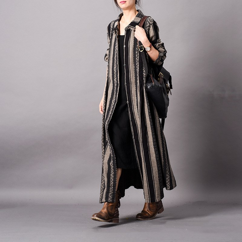 Women Spring Cotton Linen Stripe   Trench   Button Thin   Trench   Overcoat Ladies Patchwork Overcoat Female Long Cardigans