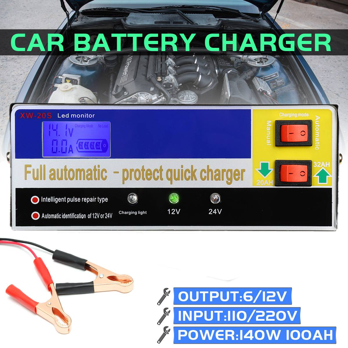 110V 12V/24V 100AH Intelligent Pulse Repair Type Electric Car Battery Charger PWM Constant Voltage Charging Various Protections