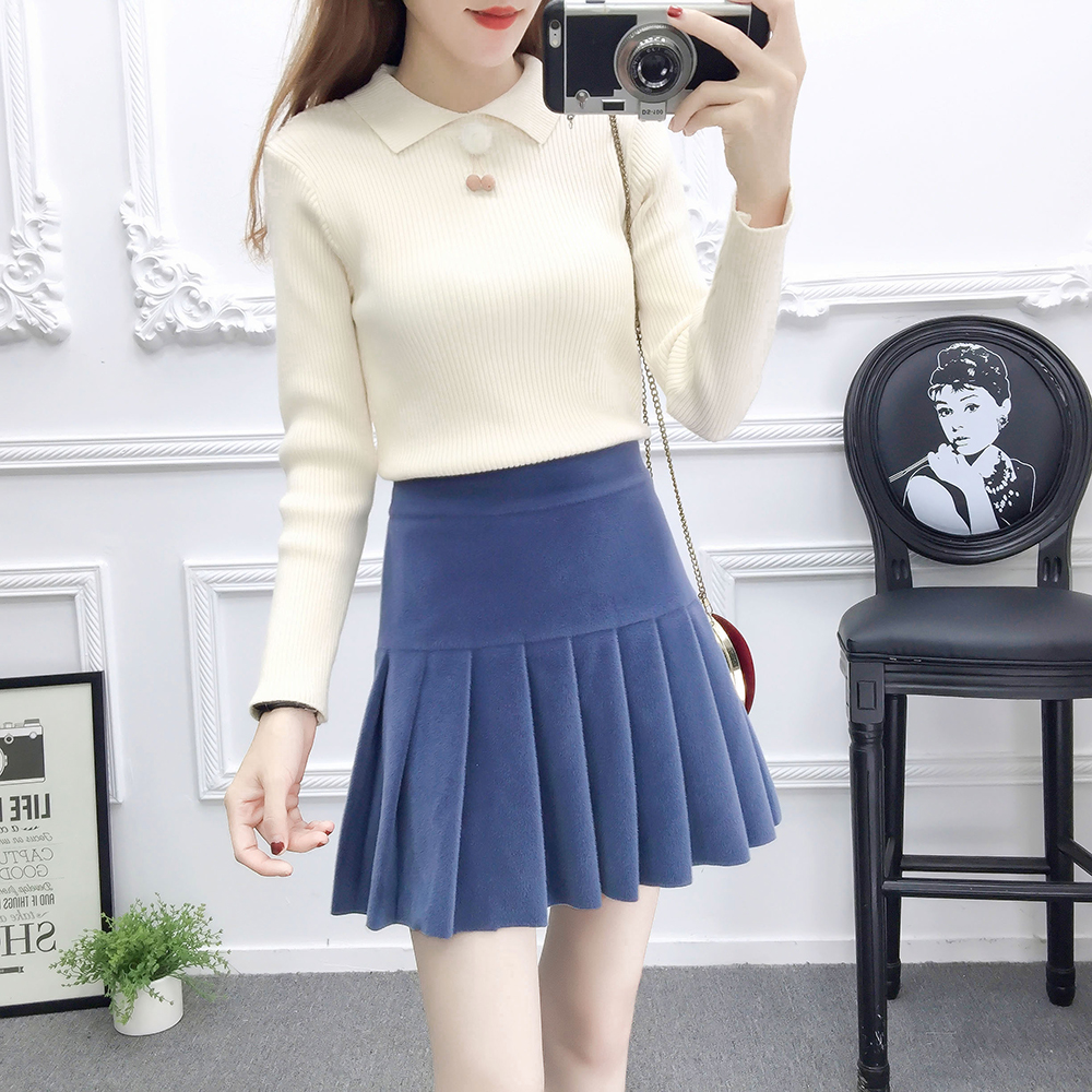 new winter skirt Korean fashion suits thick sweater & Pleated woolen cloth skirts two-piece outfit women vestido top knitwear