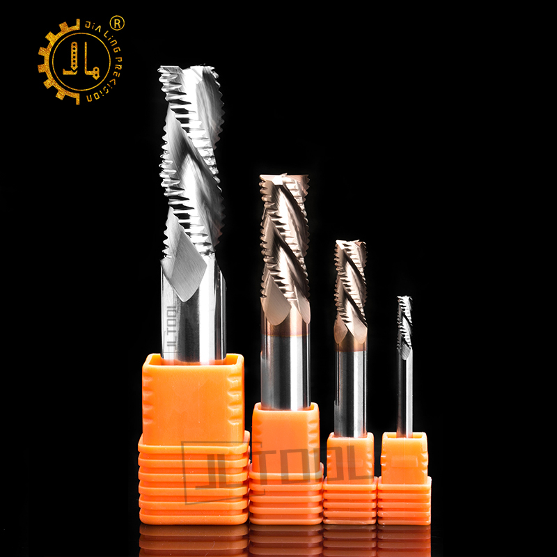 JIALING 4mm 1 Pc Four Flute Rough End Mill Hss Speed Cutting Roughing End Mills Milling Cutter Carbide Rough End Mill
