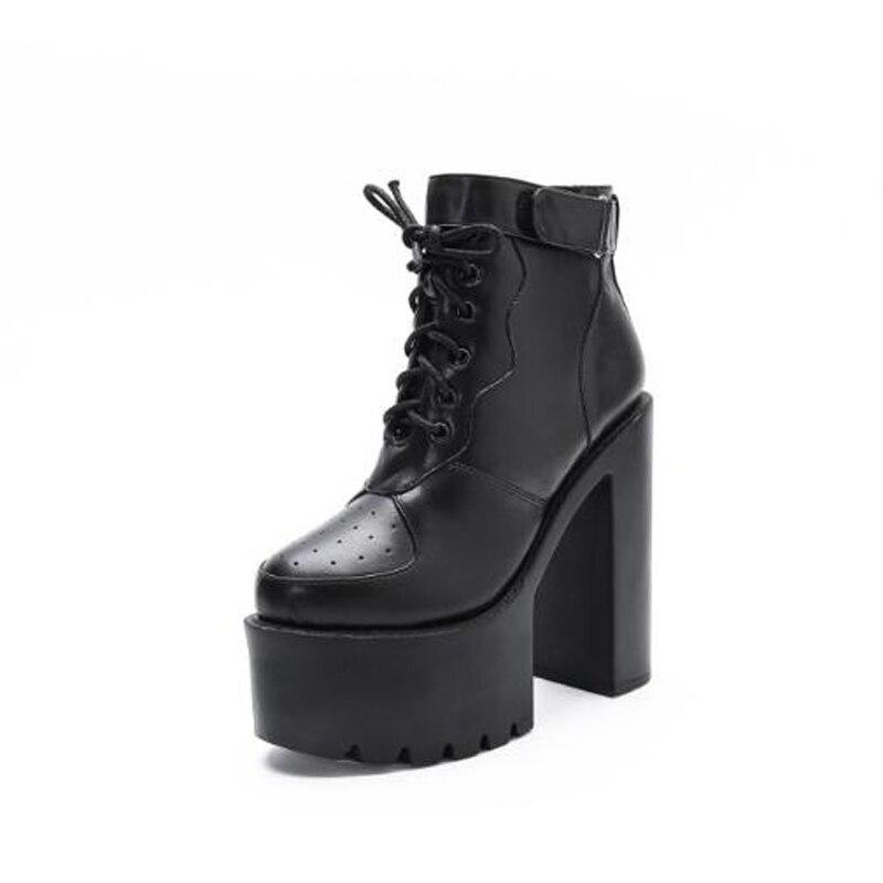 Plate Lja59 Noir Punk blanc Chaussures Bottes Cheville forme Automne Hiver Talons Blanc Pompes Hauts Moto Femmes Noir nwPX80kO
