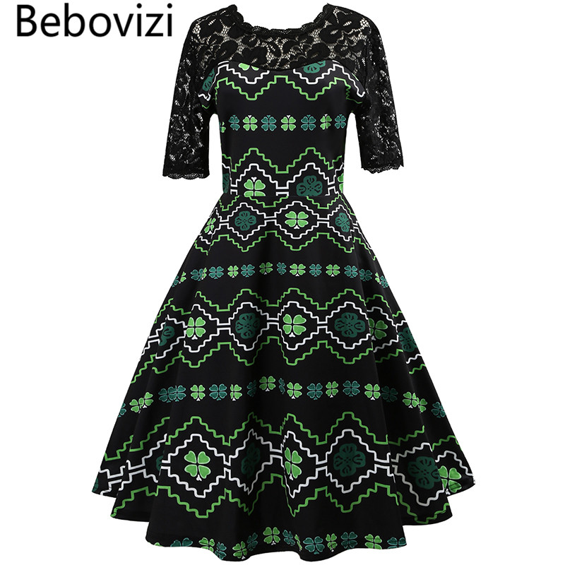 Detail Feedback Questions about Beboviz Clover Sexy Lace V Back Rockabilly  Vintage Dress Audrey Hepburn Robe Retro Femme Party Swing Women Midi Dresses  ... 8d5b27fc728f