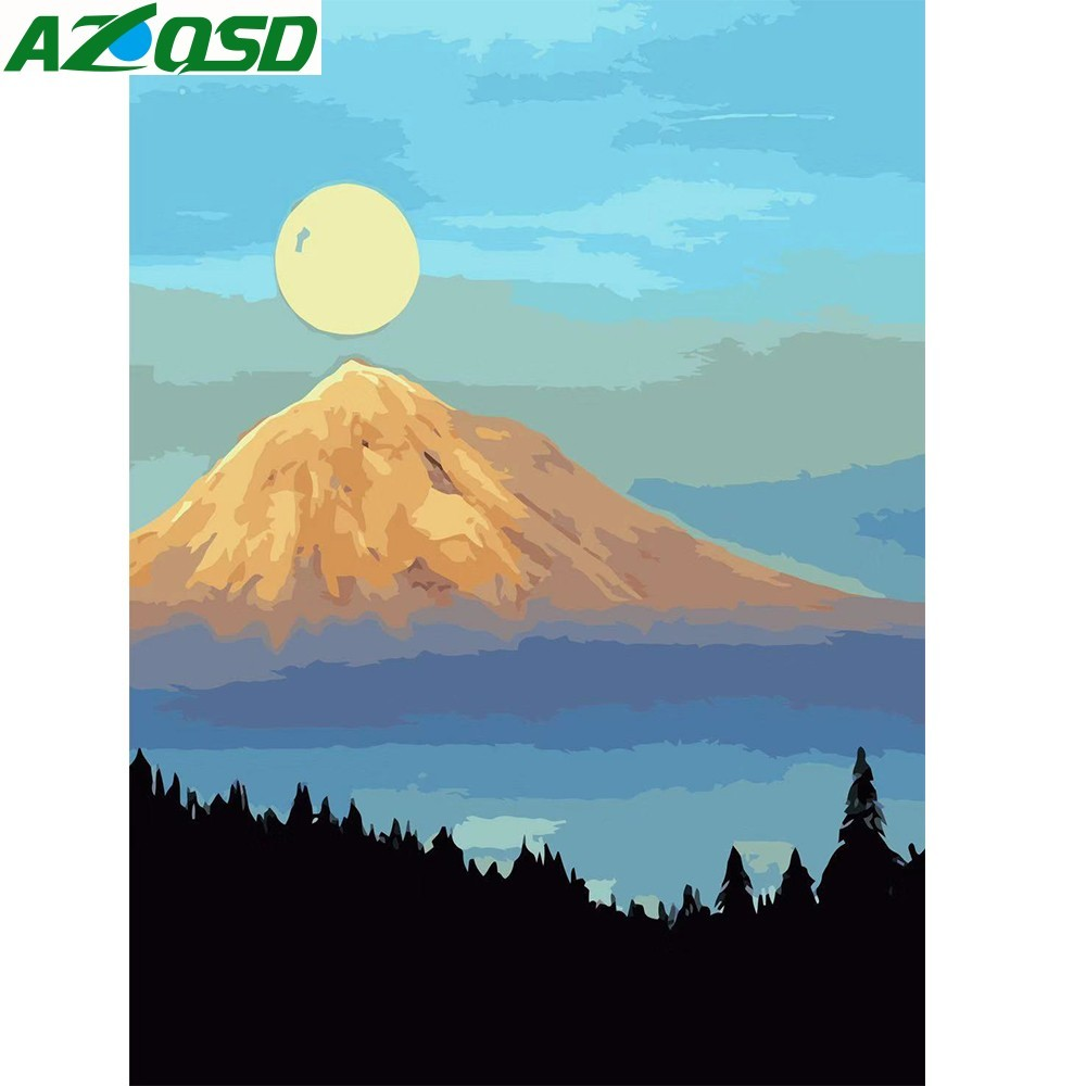 AZQSD Oil Painting By Numbers Scenic Unframed Home Decor Pictures DIY Digital Oil Painting On Canvas Mount Fuji Wall Art SZGD050