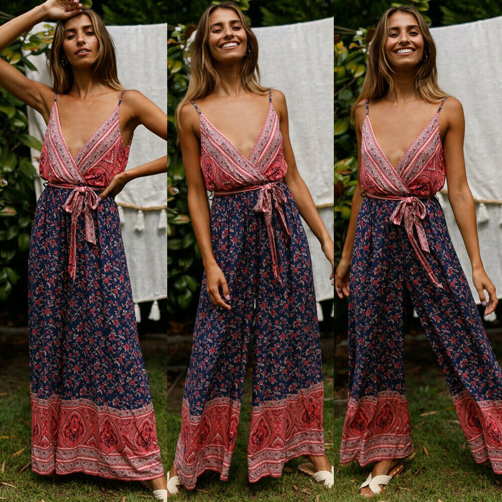 Sexy Women Jumpsuit Summer Boho Style Sleeveless Romper Clubwear Party Clothes Floral Jumpsuit One Piece Playsuit Loose Trousers