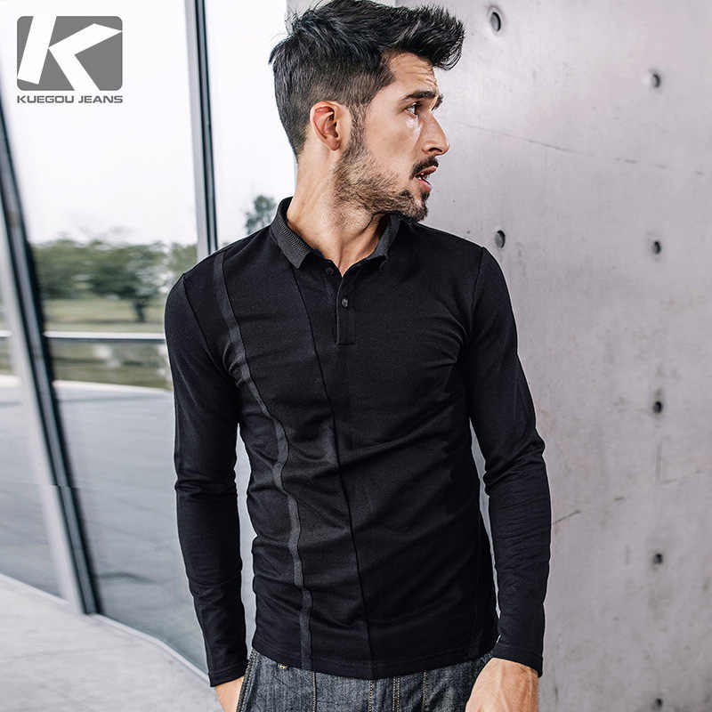 da5ed2a5d15c KUEGOU New Autumn Mens Casual Polo Shirts Patchwork Black Color Brand  Clothing For Man's Long Sleeve