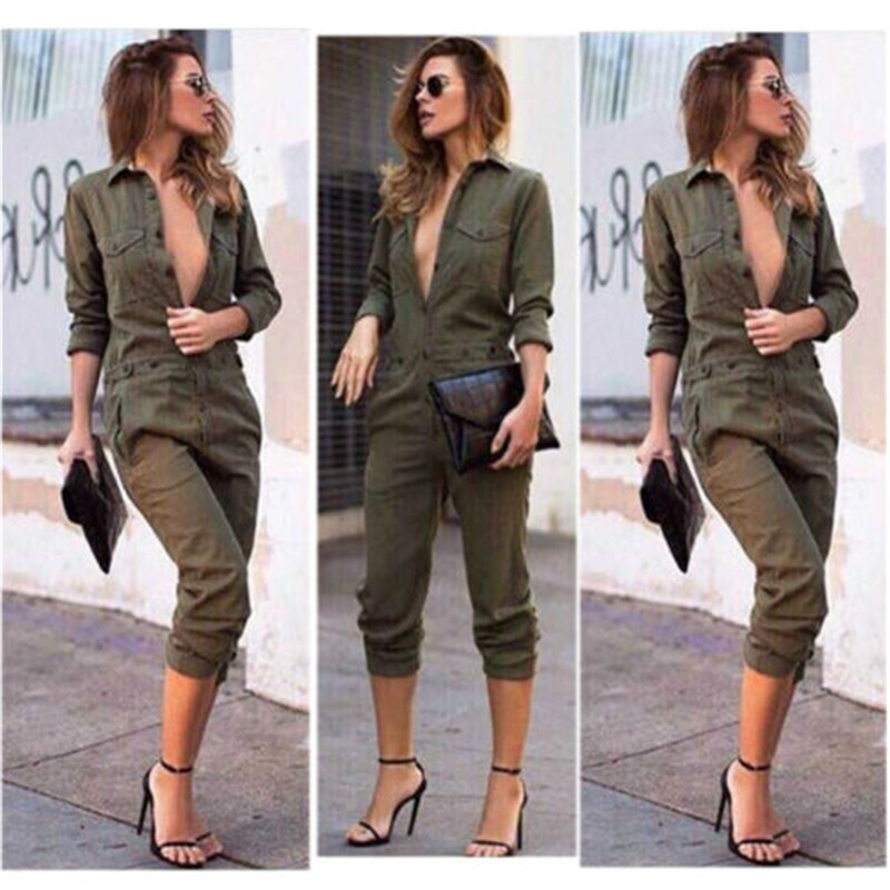 2019 New Army Green Long Sleeve Button Outfits Overall Jumpsuit OL Lange Top Women Clothing Set  Summer Casual Playsuit Bodysuit