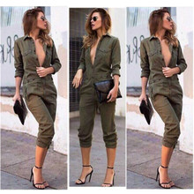 2019 New Army Green long sleeve Button Outfits Overall Jumpsuit OL Lange Top women clothing Set summ