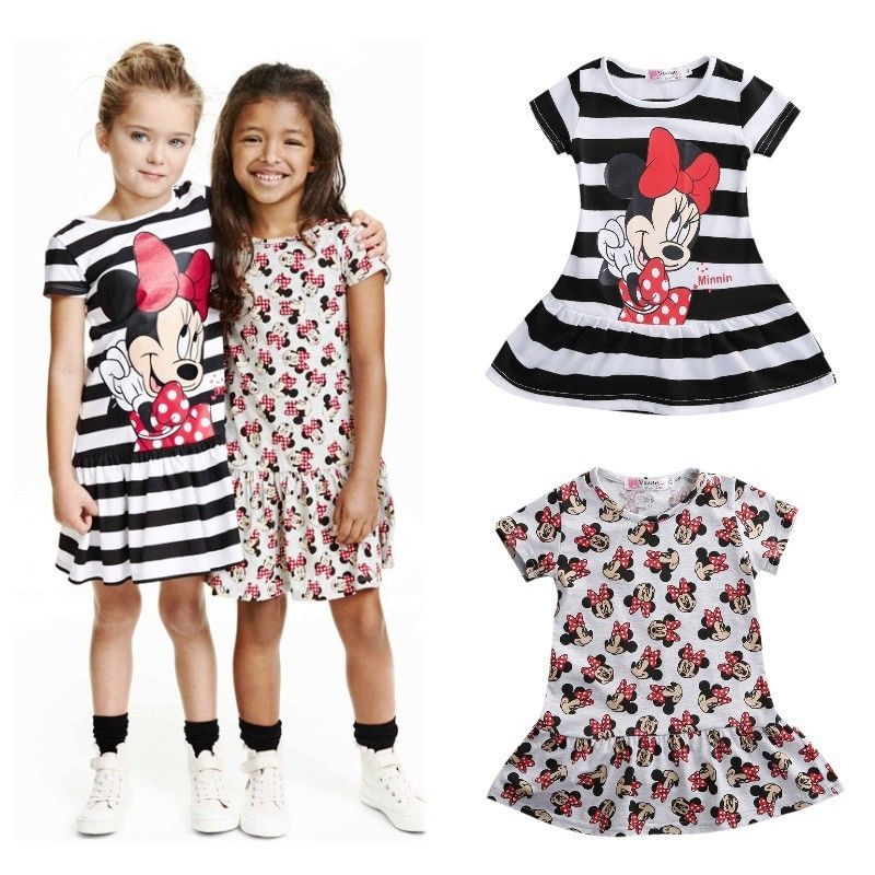 Pudcoco Babi Gril Dress Cartoon Minnie Mouse Princess Dress Sleeve 3-7 T Baby Kids Girl Cloths Cute Summer Mini Sundress