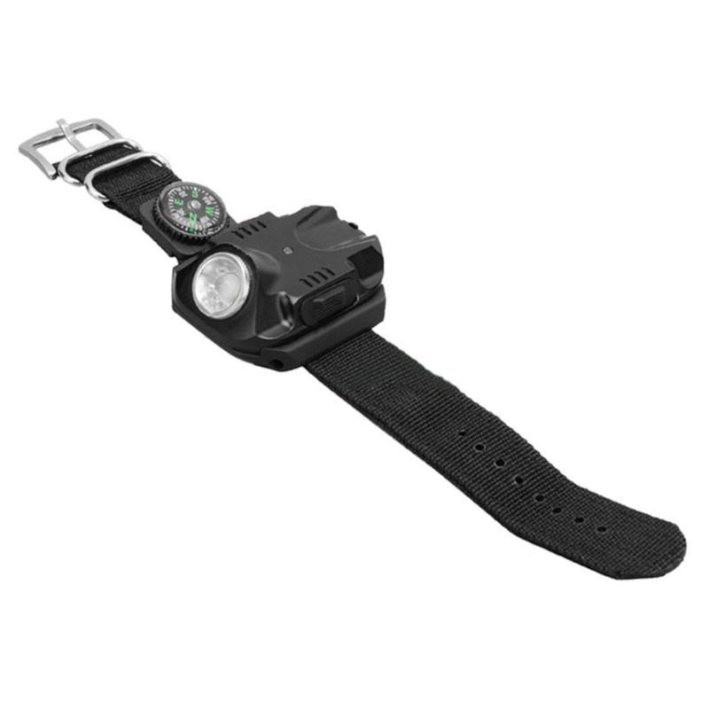 Biosafe Outdoor Waterproof Compass Led Watch Lamp Night Running Hiking Camping Built-in Battery Recharge Wristwatch Flashlight Self Defense Supplies