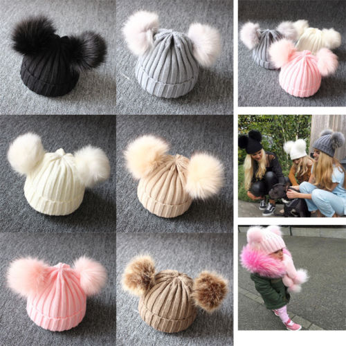 Stylish Design Winter Baby Kids Warm Hats Solid Color Boy Girl Double Pompom Balls Beanie Caps Toddler Infant Knitted Cute Hats