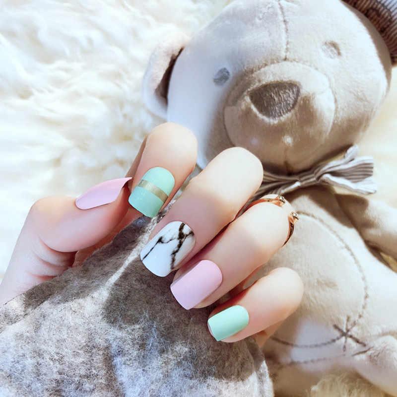 Накладные ногти ELECOOL, мраморные, белые, розовые, синие, полное покрытие, Длинные накладные ногти, акриловые накладные ногти, искусственный дизайн