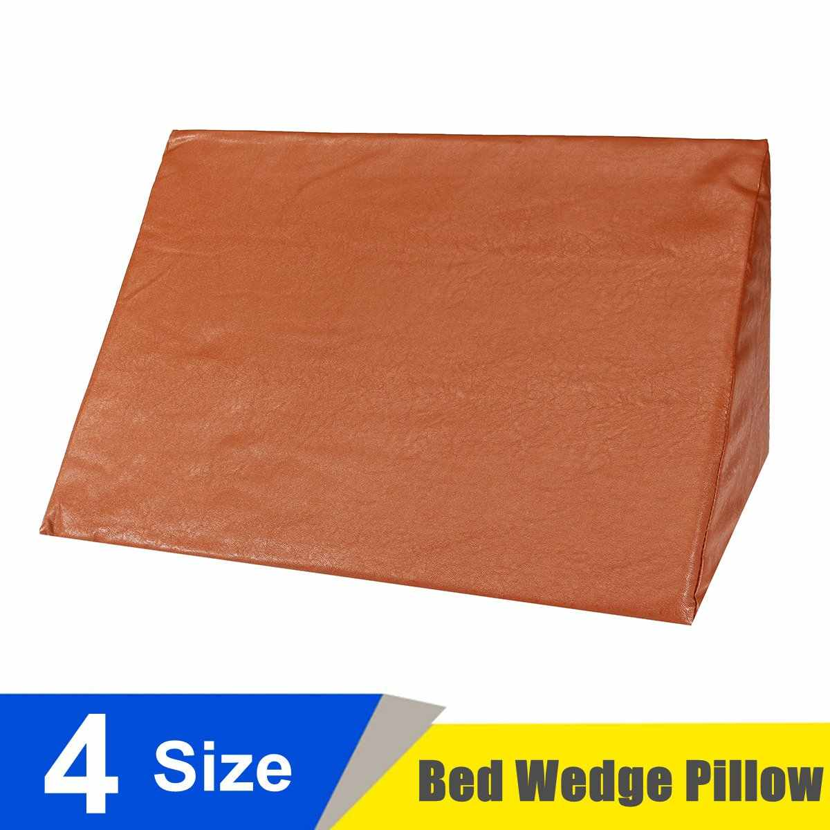 Orthopedic Acid Reflux Bed Wedge Pillow Leather Sponge Back Leg Elevation Cushion Pad Triangle Pillow Cover Brown Bedding