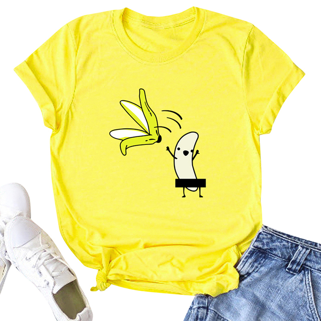 Casual Cotton Funny T-Shirt Women Naked Banana Cartoon Print Short Sleeve O-Neck T Shirt Women Cute Tee Shirt Femme Summer Tops 3