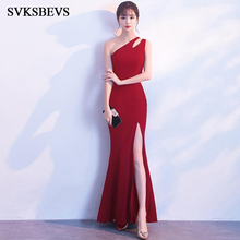 SVKSBEVS 2019 Hollow Out One Shoulder Mermaid Long Dresses Sexy Split Bodycon Backless Party Maxi Dress