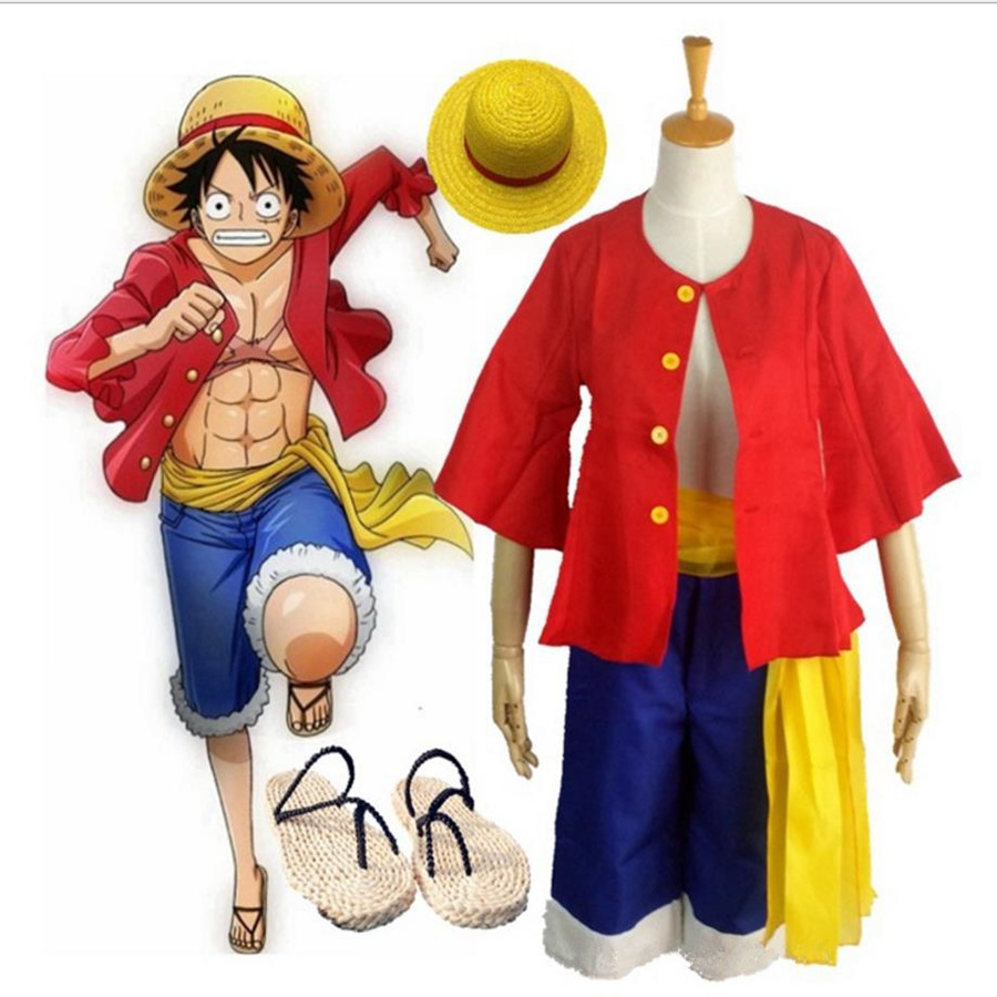 Anime One Piece Monkey D Luffy Cosplay Costume Set Coat Pants Sandals Shoes Hats