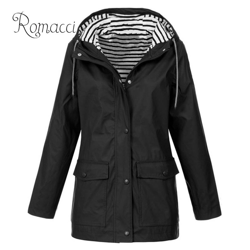 Sporty Women Hooded   Trench   Coat Striped Inside Drawstring Solid Color winter overcoat women Pocket Long Autumn Coat 2019