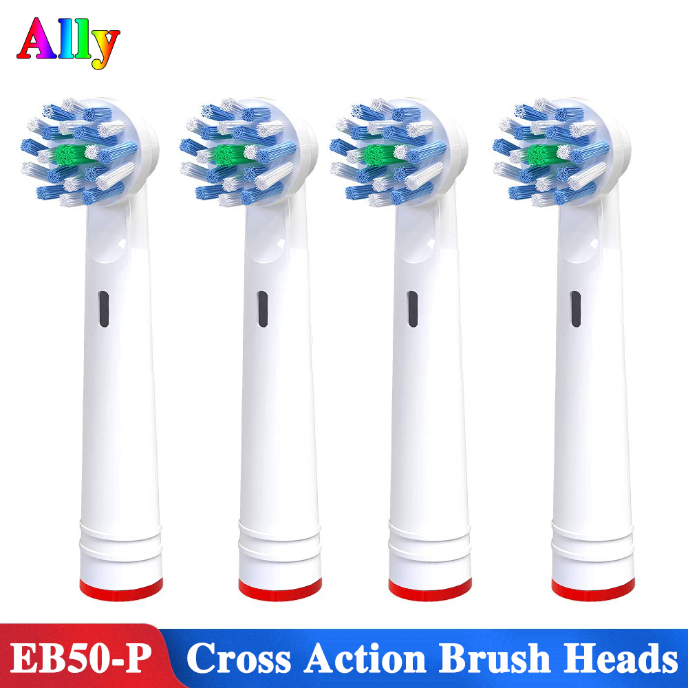 4pcs EB50 Electric Toothbrush Heads Replacement For Oral B Cross Action With Bacteria Guard Bristles Replacement Brush Heads