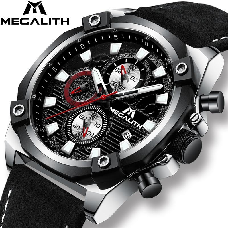 MEGALITH Fashion Mens Quartz Watches Top Brand Luxury Watch Men Waterproof Calendar Sport Chronograph Watches Relogio Masculino