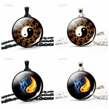 Yin Yang Black White Gothic Necklace Glass Cabochon Pendant Yoga Zen Jewelry Birthday Christmas Gift for Yoga Lover Wholesale(China)