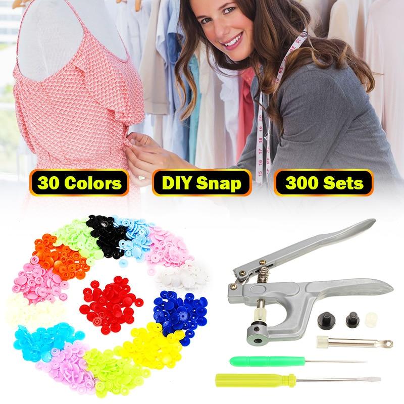 800Pcs/200Set T5 for T3 T8 Clothes Button+Plier Kit Plastic Fastener Snap Resin Press Stud for size 16 20 24 snap