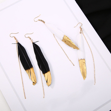 New Bohemian Feather Tassel Earrings Long Chain Drop Earring For Women Girl Gift Female Fashion Jewelry bfh fashion charm large circle tassel drop earrings for women girl wedding party bohemian long earring jewelry gift wholesale