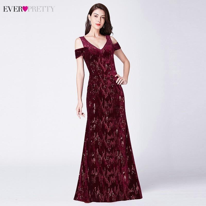 Vintage Evening Dresses Long Ever Pretty V Neck Mermaid Sequined Shiny Party Dresses EP07396BD Elegant Lace