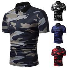 купить Lapel Collar Camouflage Men Polo Shirt Short-sleeved Summer Tops Tees POLO shirt Men Casual Fashion Style Slim fit New дешево
