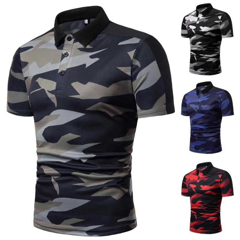 Lapel Collar Camouflage Men   Polo   Shirt Short-sleeved Summer Tops Tees   POLO   shirt Men Casual Fashion Style Slim fit New
