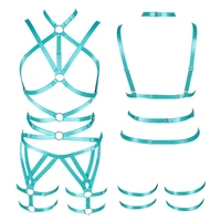 Jade Green Women Body Harness Bra Strappy Tops Hollow Out Sexy Lingerie Set Plus Size Elastic Adjust Punk Goth Club Dance Rave
