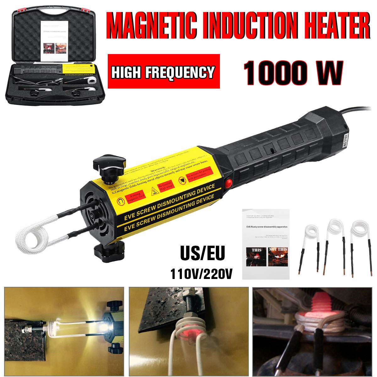 Induction Heater Bolt Heat Disassembler Screw Tool 220V/110V Magnetic Induction Heater Kit Heating Bolt Remover Car Repair Tool