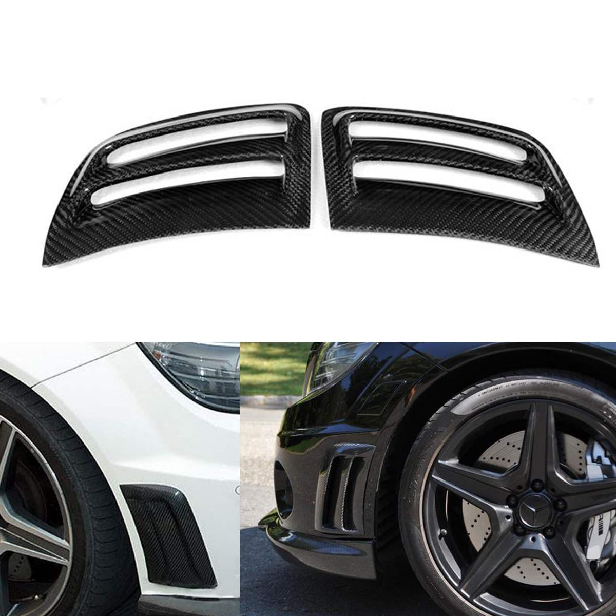 New 2pcs Car Carbon Fiber Air Vent Duct Cover Side Air Insert Vent Cover Trim Cover Vent Sticker For W204 C63 for AMG 08-11New 2pcs Car Carbon Fiber Air Vent Duct Cover Side Air Insert Vent Cover Trim Cover Vent Sticker For W204 C63 for AMG 08-11