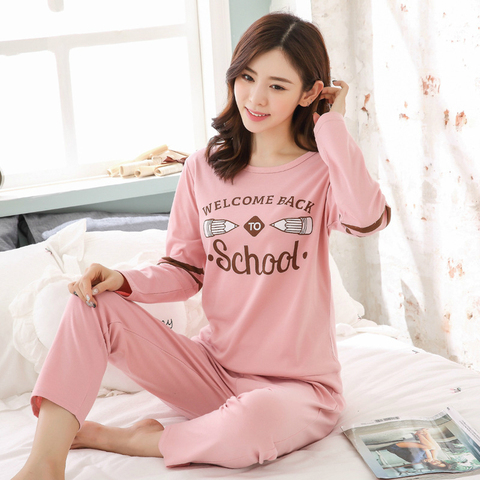 2019 Sleep Lounge Pajama Long Sleeve Top + Long Pant Woman Pajama Set Cartoon Pyjamas Cotton Sleepwear For Women M L XL XXL XXXL Multan