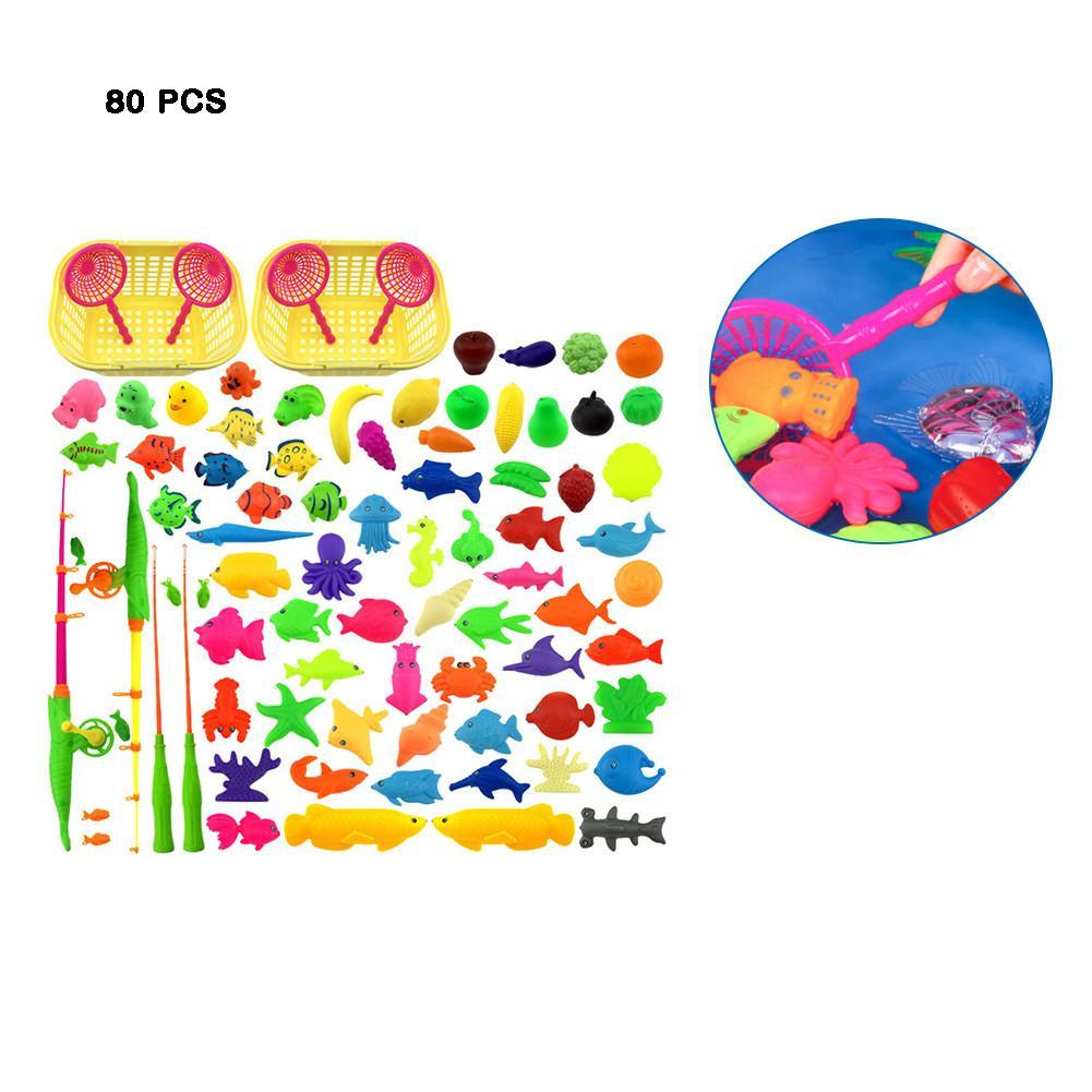 80 Pcs Kinderen Simulatie Vissen Speelgoed Opblaasbaar Zwembad Set Magnetische Vissen Speelgoed Vierkante Park 80 Delige Set Een Plastic Behuizing Is Gecompartimenteerd Voor Veilige Opslag